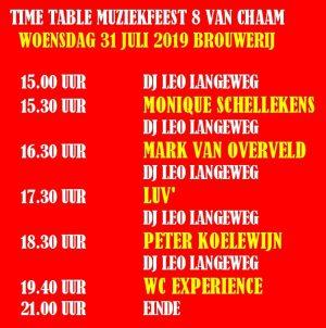 Time Table Muziekfeest 2019